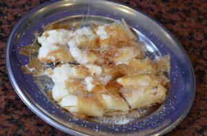 Bougatsa, another traditional baked treat (Photo courtesy Gabi Ancarola). Traditional greek breakfast