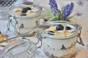 Traditional Greek Breakfast: Yogurt, fruit and honey.